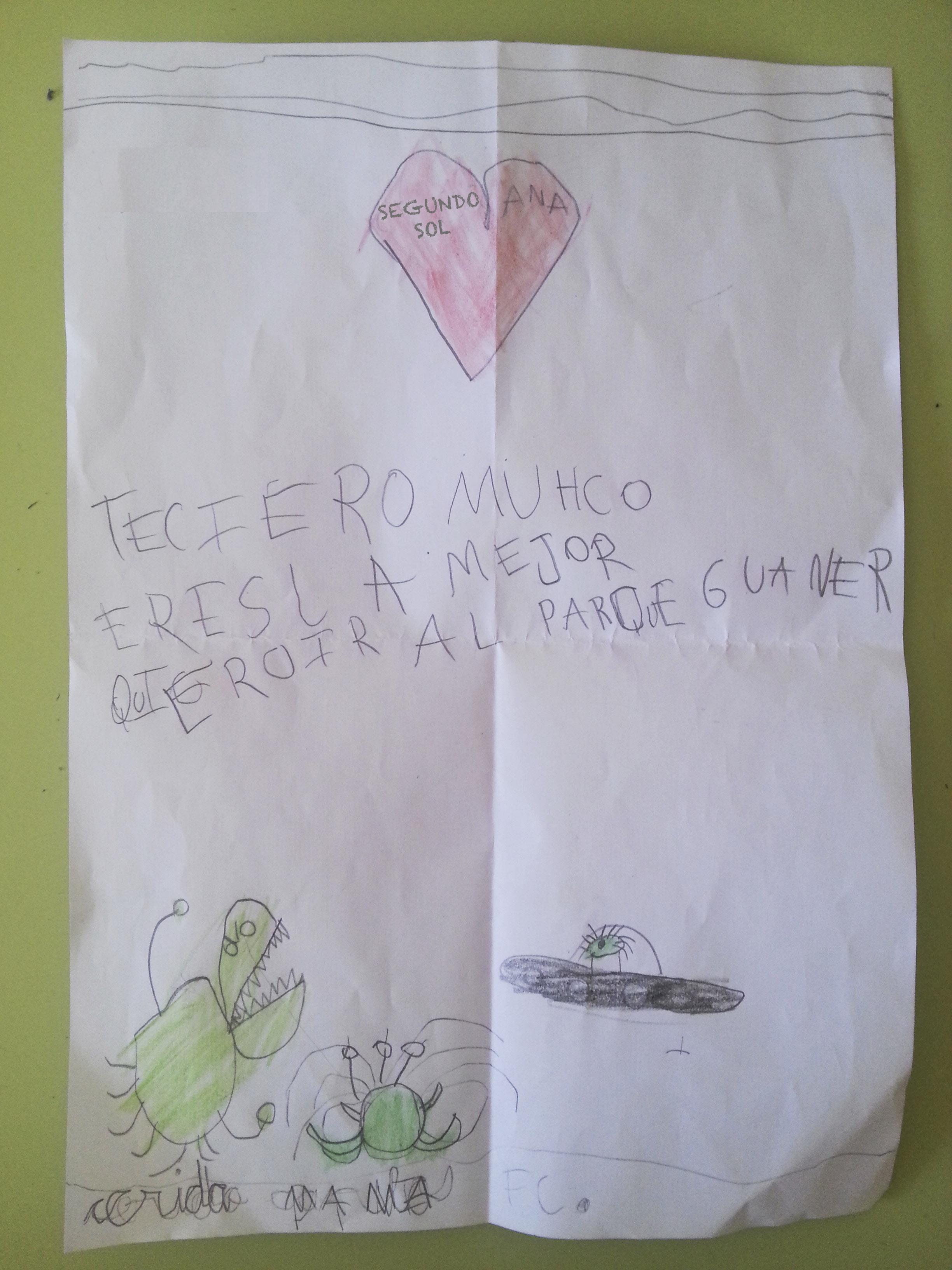 """Traducción: """"Te quiero mucho, Mamá, eres la mejor: quiero ir al Parque Warner"""" ¿Casualidad? No lo creo..."""
